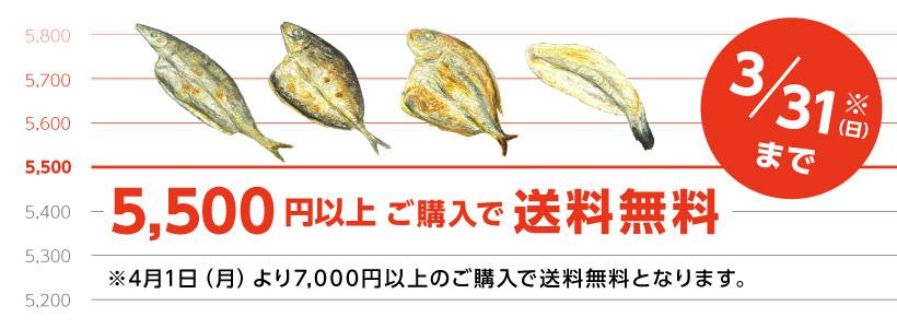 3月31日まで5500円以上送料無料